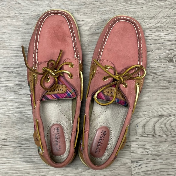Sperry boat shoe pink leather canvas plaid 8.5